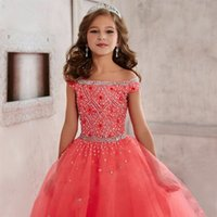 Wholesale yellow shorts size 5t girls for sale - Group buy New Gorgeous tulle Coral Flower Girl Dress scoop Short sleeves Beads crystal Sequins Pageant Dress Size customization