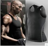 Pro tights men sport basketball vest Tank Tops summer slim fitness skinny Male training suit running quick drying sleeveless
