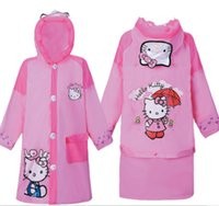 Hello Kitty Baby Crianças Cartoon Kids Girls Rainproof Rainwear Long Raincoat Rainsuit Poncho