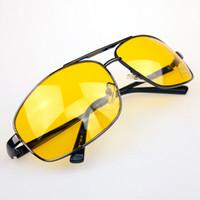 gafas de sol de lente amarilla al por mayor-Al por mayor-2016 Venta caliente Conductor HD High Definition Night Driving Vision gafas de sol lente amarilla