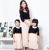 Wholesale Half Sleeve Womens Summer Dress - Mother and daughter clothes sweet girls half sleeve princess dress womens round collar pleated dress 2017 summer new family clothes T2204