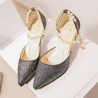Wholesale Evening Women High Heel Wedges - Women Solid Shoes Wedge Sandal 2017 Shoes Women Thin Heel Women Comfortable Point Toe Evening Shoes