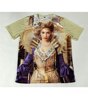 beyonce baskı toptan satış-2 Stilleri Gerçek ABD Boyutu Altın Kraliçe Bey Beyonce Custom made 3D Sublime baskı T-Shirt Artı boyutu
