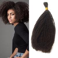 ingrosso i capelli umani nocivi di massa-Capelli umani intrecciati malesi della calvizie nessuna trama capelli ricci crespi afroamericani crespi di 10-26 pollici per l'americano africano G-EASY