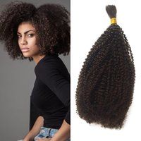 afrika saç örgüleri toptan satış-Malezya İnsan Örgü Saç Toplu Hiçbir Atkı 10-26 inç Afro Kinky Kıvırcık Toplu Saç Afrika Amerikan G-KOLAY için