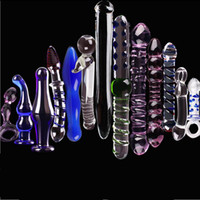 Wholesale Pyrex Glass Dildo Anal - 13PCS Sex toys Perfect Set Crystal Glass Dildo Anal Butt Plug Pyrex Crystal Penis Adult Female Sex Products With a Sexy Dice