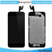 Wholesale Wholesale Spare Parts Lcd - Screen Replacement for iPhone 6 4.7 inch LCD Touch Front Assembly Digitizer Frame Full Set with Spare Parts Home Button Front Camera