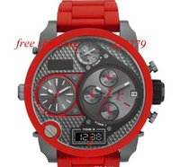 Wholesale mr red - free shipping New Mr Daddy Red Chronograph Men's Oversize Watch 7279