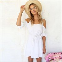 Wholesale Hooked Spaghetti - Sexy Strapless Lace Skirt white beach sling A word short hook flower hollow dress 2017 summer new ouc256