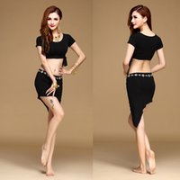 Wholesale Belly Dance Practice Wear - Belly dance Practice costume latin dance practice wear bellydance clothing indian dancing dress set 3pcs Top&Skirt&Belt Stage Performance