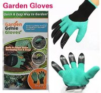 Wholesale Garden Genie Gloves With Fingertips Claws Green Dig and Plant Safe Pruning Gloves Garden Waterproof Digging Gloves with retail box pairs