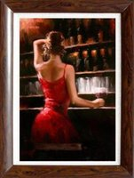 Wholesale Life Size Sexy Girl - Framed Modern Sexy Girl in Wine Bar Fabian Perez Handpainted Impressionist Portrait Art Oil Painting,on High Quality Canvas Multi sizes