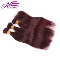 Wholesale Red Brazilian Hair - Remy hair Mink Brazilian Virgin Hair With Closure 99j Straight With Closure 4Pcs Lot Wine Red Human Hair 3Bundles With Lace Closure