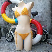 ropa interior de color naranja al por mayor-Micro bikini hecho a mano de ganchillo Conjunto de lencería sexy mini bikini Beach micro traje de baño naranja