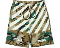 Wholesale Mens Cotton Camouflage Pants - summer High Quality Mens womens Shorts OFF WHITE Camouflage printed stripe Kanye Hip Hop West casual mesh short pants Bboy streetwear