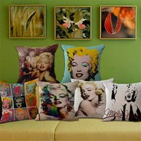 Wholesale Marilyn Monroe Throw - Marilyn Monroe Pillow Case Cushion cover Linen Cotton Throw Pillowcases sofa Bed Car Decorative Pillow covers free shipping