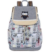 Wholesale Owl Knit Bag - Vintage High Quality Owl Embroidery Canvas backpack Korean creative shoulder bag travel bag luggage gifts bags