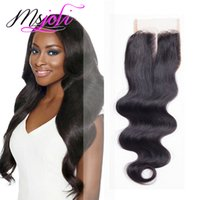 Wholesale Ms Queen - Virgin Human Hair 7A Malaysian Queen Hair 4x4 Lace Top Closure Body Wave Natural Black Three  Middle Free Part 6-20 Inches Ms Joli