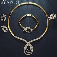 Wholesale Dress Jade Color - Party African Beads Jewelry Sets For Women Earrings Gold Color Pendant Necklace Rings Bracelet Wedding Dress Accessories