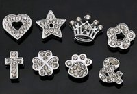 10MM Full Rhinestones Acessórios para jóias Crown Cross 11 Designs Heart Charms Metal Loose Beads para jóias Making Mix Wholesale Bulk