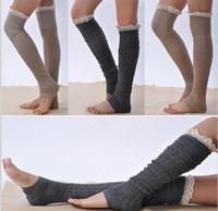 Wholesale lace leg socks resale online - Newest Women Lace Knitted button Boot Cuffs Leg Warmers Foot socks boot cuff lace knit leg warmers top quality