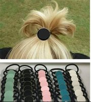 Wholesale Disc Holders - Fashion Wholesale Small Customization Personalized Hair Jewelry For Woman Monogrammed Enamel Disc Stretch Pony Tails Holders