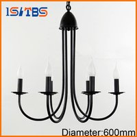 Wholesale Candle Pendant Style Lighting - 2017 For foyer dinning room living room 6 arms candle light lamp style Modern chandelier with black color