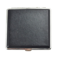 Wholesale Metal Leather Cigarette Case - Wholesale- New Hot Sale Black Silver Press Button Faux Leather Metal Cigarette Case Holder