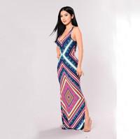 Wholesale Chevron Dress Women - Women Boho Chevron Print V-Neck Vintage Elegant Maxi Long Dress Summer Sleeveless Casual Slimming Dress Wholesale Price Mix order Accepted