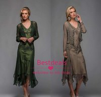 Wholesale Beaded Chiffon Bolero - 2017 Scala Tea Length Mother of The Bride Dresses with Appliques and Beaded V Neck A Line Evening Gowns with Free Bolero Dress Plus Size