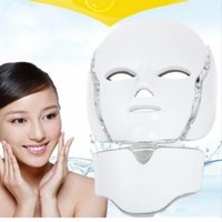 Wholesale New Face Microcurrent - New Photon LED Infrared Facial Neck Mask Skin Microcurrent Massager Beauty Therapy Home Use Free Shipping