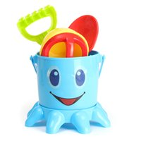 Vente en gros - 7PCS / Set Kids Octopus Bucket Spade Rake Pot Sand Water Outils de plage Toy High Quality