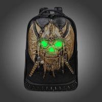 Wholesale Medium Backpacks For Men - Fashion Rivet Backpack 3D Skull Pirate Backpack Fluorescent School Girls Boys College Student Backpack Luminous Bagpack Bag for Teenagers