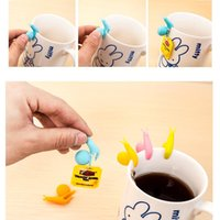Wholesale Tea Bag Holder Cups - Silicone Tea Bag Holder Fashion Mix Color Cute Snail Shape Mug Hanging Tool Practical Party Glass Cup Separating Clip 0 4yy R