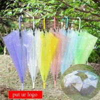 Wholesale Transparent Clear Umbrella Wholesale - Transparent Clear EVC Umbrella Long Handle Rain Sun Umbrella See Through Colorful Umbrella for Rainproof Wedding Photo for Adult Kids