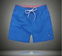 Wholesale Orange Beach Color - new summer beach men shorts solid color cotton casual loose elastic waist shorts Swimwear Bermuda Male Letter Surf Life Men Swim clothing