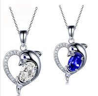 Wholesale Sterling Gold Color Chain - White gold plated 100% Real Sterling Silver 925 Heart Dolphin Pendant Necklace with Chain,white and blue color