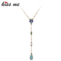 Wholesale geometric necklaces online - Kiss Me Chic Long Geometric Pendant Necklace Gold Color Alloy Sweater Chains Necklace Brand Jewelry For Girls