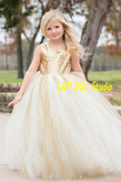 Wholesale Sequin Top Ruffle Gown - Champagne Flower Girls Dresses Ivory and Champagne tulle Bottom Gold Sequins Top Sleveless Ball Gown Floor-Length with Bow Girls Party Dress
