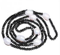 doğal inci 12mm toptan satış-JLN Kazak Zinciri 11-12 MM Doğal Tatlısu Pirinç Inci 4mm Kristal Beyaz Siyah Takı 90 cm Uzun Inci Kolye