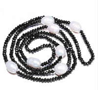 Wholesale Long Natural Pearl Necklace - JLN Sweater Chain 11-12MM Natural Freshwater Rice Pearl & 4mm Crystal White Black Jewelry 90cm Long Pearl Necklace