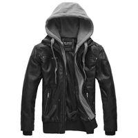 motosiklet kapüşonlu deri ceket toptan satış-Moda Kış Sonbahar Erkek Ceket Marka PU Deri Kapüşonlu Ceket Erkekler Motosiklet Palto Büyük Boy Erkek deri ceketler