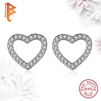 BELAWANG 925 Sterling Silver Love Heart Shape Stud Earrings Mulheres Brincos com Clear Cubic Zircon Jewelry Wholesale para o Dia dos Namorados
