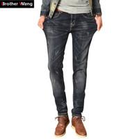Wholesale Type Jeans Pant - Wholesale- Hot sales Jeans Men 's Four Seasons Deep Gray Stretch Slim Denim Pants Brand men 's straight - type Slim biker jeans plus size
