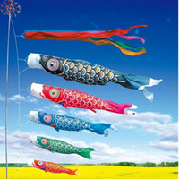 Wholesale Wholesale Wind Flags - 40cm Koi Nobori Japanese Style Party Flag Colorful Carp Wind Sock Koinobori Fish Anime Flag Hanging Decor ZA4405