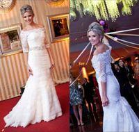 Wholesale Long Sleeve Layered Tops - Off Shoulder New Sheer Mermaid Lace Wedding Dresses With Half Sleeves Princess Long Bridal Gowns Beaded Sash Elegant Layered Top