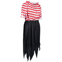 Wholesale Pirate Shirts - Fantastcostumes Halloween Costume Red White Pirate Lady Party Dress Up for Women Striped Shirt striped dress summer dress