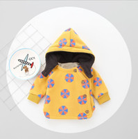 Wholesale Hot Winter Cardigan Children - INS 4 color Hot selling Korean style Cartoon geometry children Hoodie coat high quality cotton autumn winter warm Suede thickening cardigan