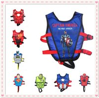 Wholesale Swim Trainer Ring - Wholesale- 2017 Child Life Vest Jacket Swim Trainer Buoyancy Float Piscine Swimming Pool Fishing Accessories float ring super man Life Vest