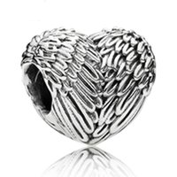 Wholesale Lampwork Glass Heart Loose Beads - Vintage Silver Love Heart Wing Bead Fit Charm Bracelet & Necklace Fashion Lover DIY Jewelry Loose Beads Accessories
